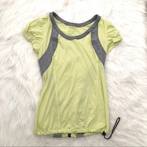 LULULEMON Personal Best green and gray tee